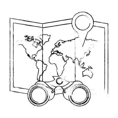 travel map world location binoculars vector illustration