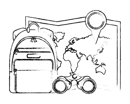 travel rucksack map location pin and binoculars vector illustration Zdjęcie Seryjne - 103047077