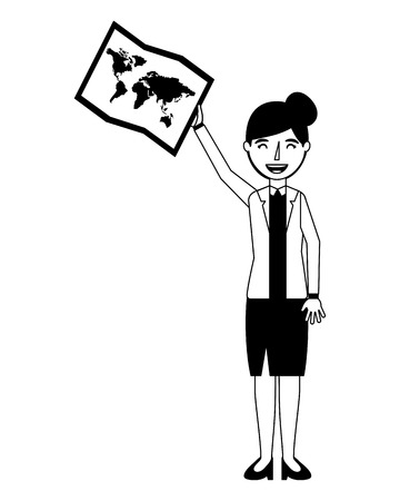woman holding travel map planning vector illustration