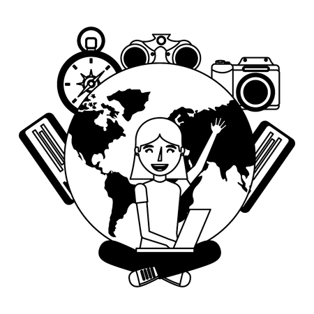young woman using laptop travel world tickets vector illustration 일러스트