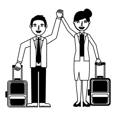 man and woman travel tourist with luggage vector illustration