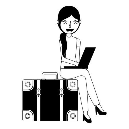 Mujer joven que usa la computadora portátil sentado en la maleta de la maleta del vector del recorrido Foto de archivo - 103047648