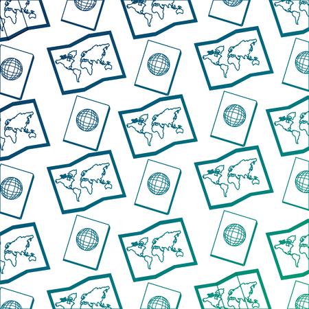 world paper map with passport document pattern vector illustration design Archivio Fotografico - 103047643
