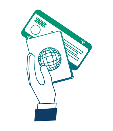 hand with passport and ticket vector illustration design