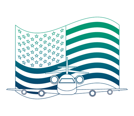 airplane flying with USA flag vector illustration design