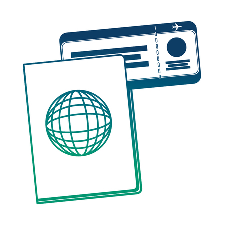 passport document with ticket flight vector illustration design Illusztráció