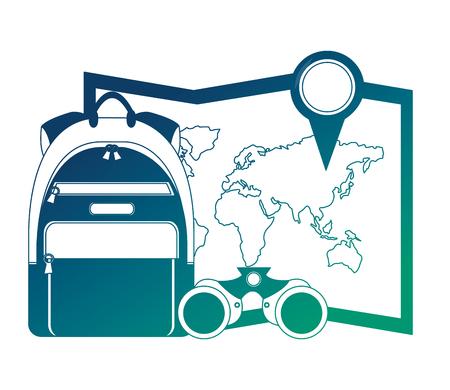 world paper map with binoculars and handbag vector illustration design