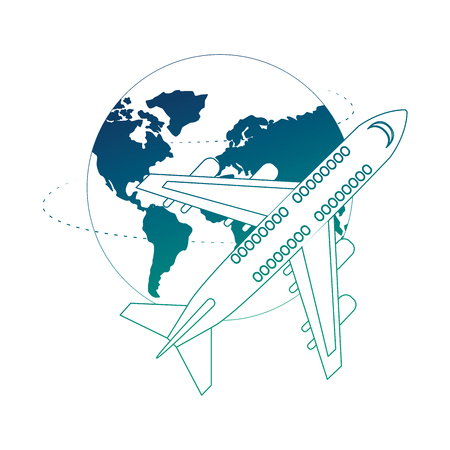 airplane flying with world planet earth vector illustration design