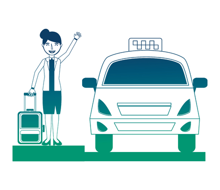 businesswoman with suitcase and taxi vector illustration design Ilustração