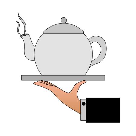 hand with coffee teapot isolated icon vector illustration design Illusztráció