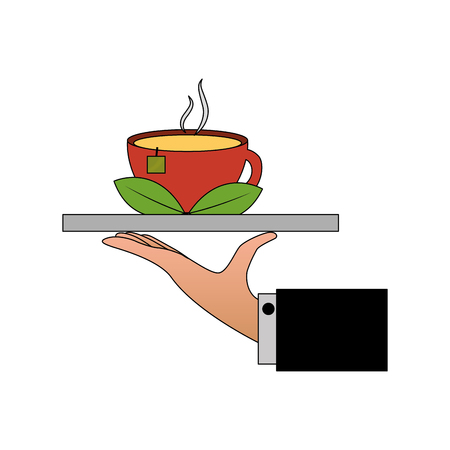 hand with tray and delicious herbs tea cup vector illustration design