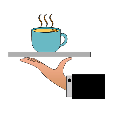 hand with tray and delicious coffee cup vector illustration design