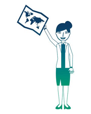 businesswoman with paper map vector illustration design Ilustração