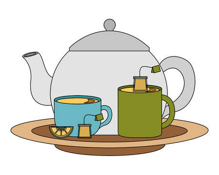 teapot with delicious lemon tea cups isolated icon vector illustration design