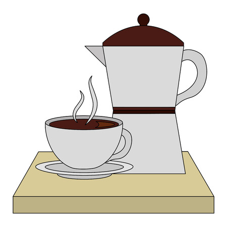 coffee teapot with tray and cup isolated icon vector illustration design