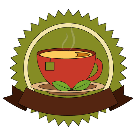 lace of delicious herbs tea cup with ribbon isolated icon vector illustration design