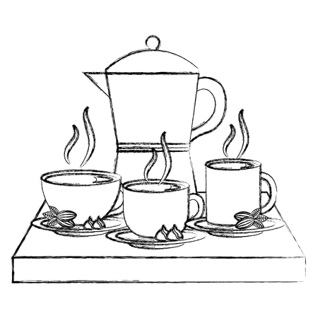 coffee teapot with tray and cups isolated icon vector illustration design Banque d'images - 103047777