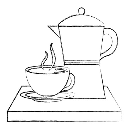 coffee teapot with tray and cup isolated icon vector illustration design Banque d'images - 103047804