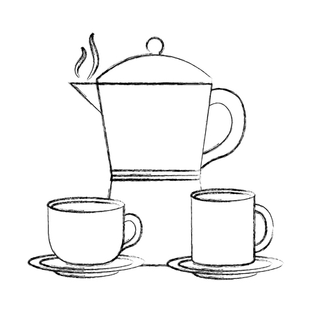 teapot with cups coffee isolated icon vector illustration design Иллюстрация