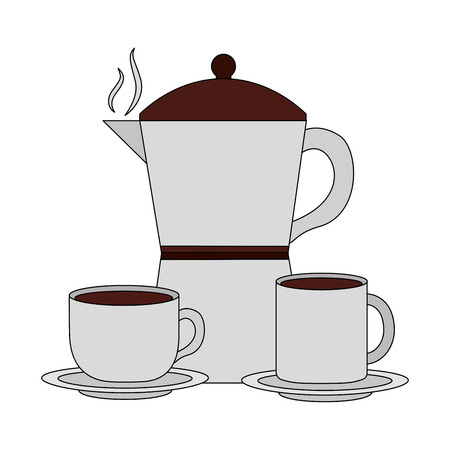 teapot with cups coffee isolated icon vector illustration design Illustration