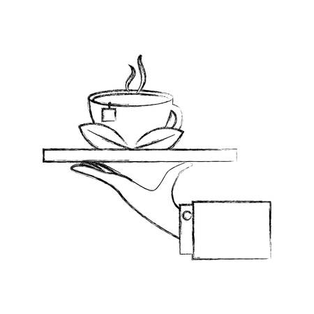 hand with tray and delicious herbs tea cup vector illustration design Banque d'images - 103047828