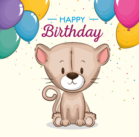 cute little cat birthday card vector illustration design