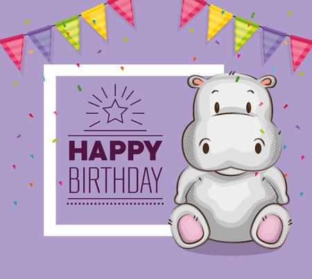 Diseño lindo del ejemplo del vector de la tarjeta de cumpleaños del hipopótamo Foto de archivo - 103068776