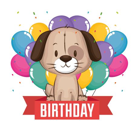 conception d'illustration vectorielle de petit chien mignon carte d'anniversaire Vecteurs