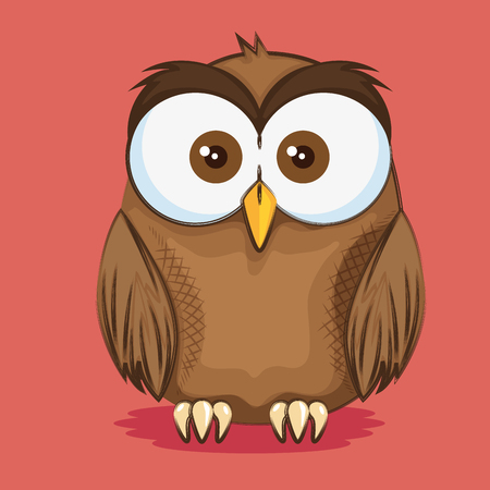 cute and little owl character vector illustration design