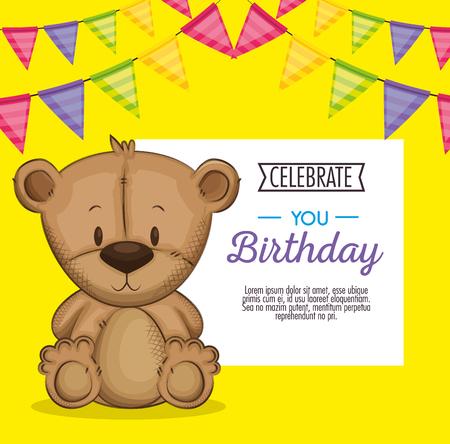 cute bear teddy birthday card vector illustration design Illustration