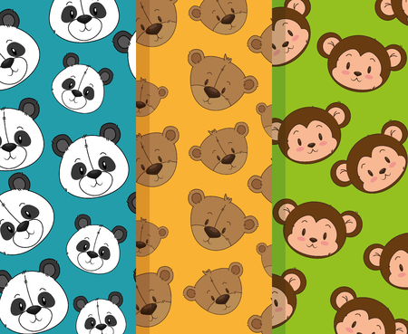 little and cute animals heads patterns backgrounds vector illustration design Foto de archivo - 103068783