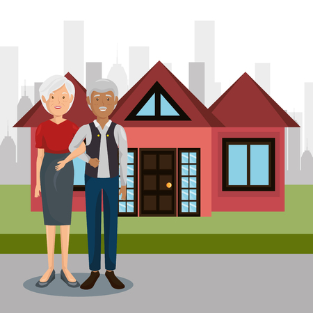 grandparents couple outdoors characters vector illustration design