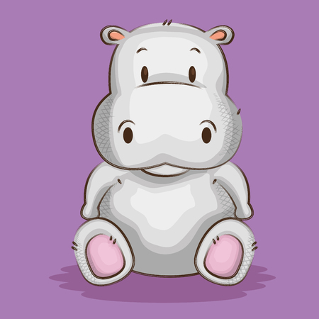 cute little hippo character vector illustration design