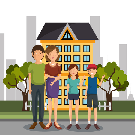 family members outdoors characters vector illustration design Banque d'images - 103068796