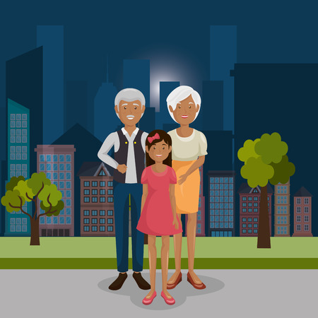 family members outdoors characters vector illustration design Banque d'images - 103068806