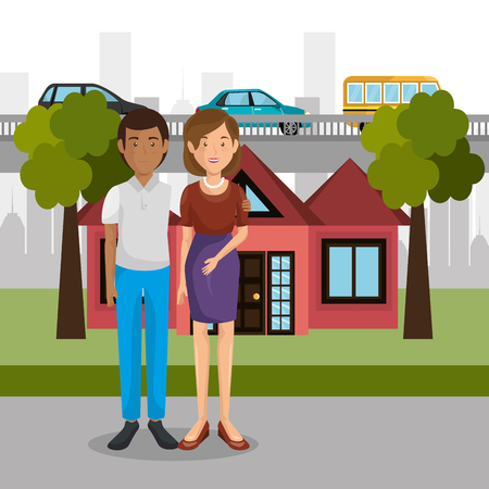 parents couple outdoors characters vector illustration design