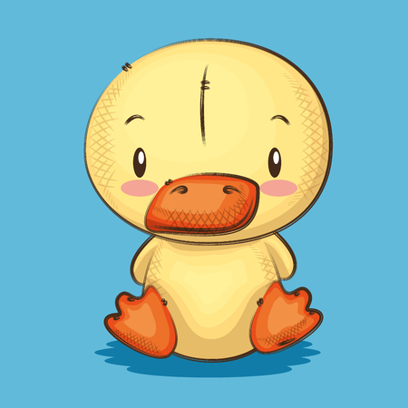 cute and little duck character vector illustration design