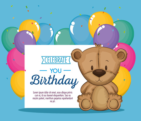 cute bear teddy birthday card vector illustration design Ilustração