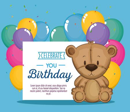 Diseño lindo del ejemplo del vector de la tarjeta de cumpleaños del oso de peluche Foto de archivo - 103068814