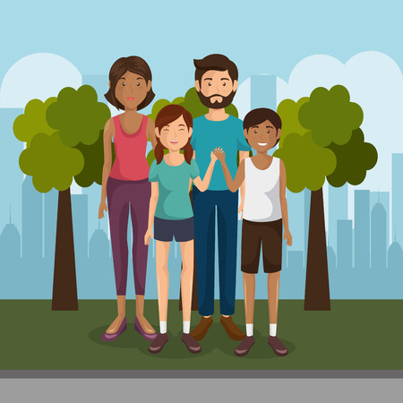 family members outdoors characters vector illustration design