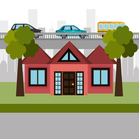 house in the neighborhood scene vector illustration design