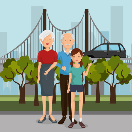 family members outdoors characters vector illustration design Banque d'images - 103064834