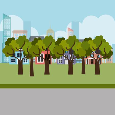 park and cityscape scene vector illustration design