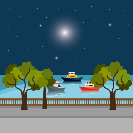 city dock with boats scene vector illustration design
