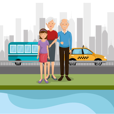 family members outdoors characters vector illustration design Banque d'images - 103068894