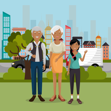 family members outdoors characters vector illustration design Banque d'images - 103068919