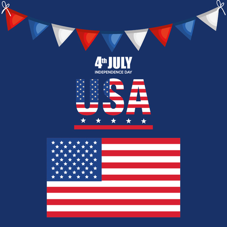 USA independence day with flag vector illustration design 向量圖像