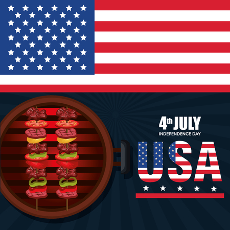 USA independence day barbeque party vector illustration design Archivio Fotografico - 103128589