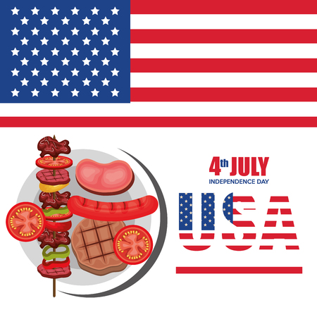 USA independence day barbeque party vector illustration design Çizim