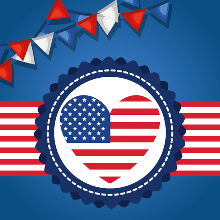 USA independence day with heart vector illustration design Archivio Fotografico - 103128684